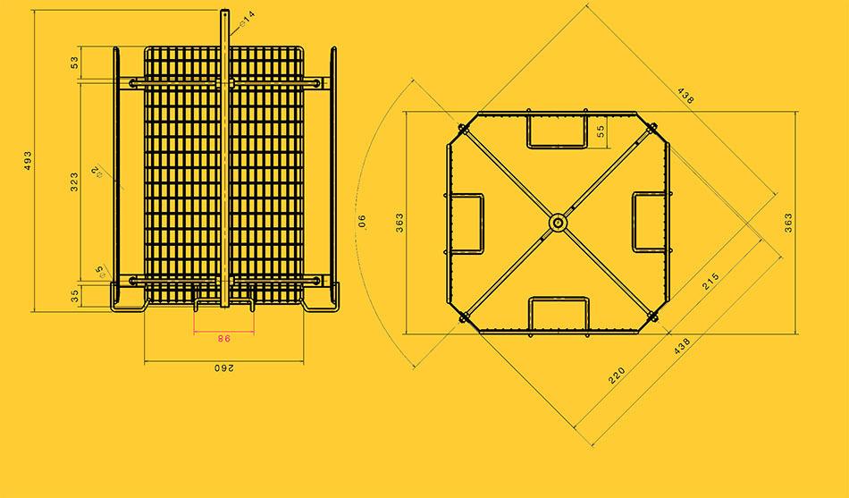 Stainless steel basket 4 frames for honey extractor DNM, Zander ...